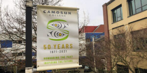 Extreme close up of a 50th anniversary lamppost banner